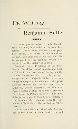 Download The writings of Benjamin Sulte.