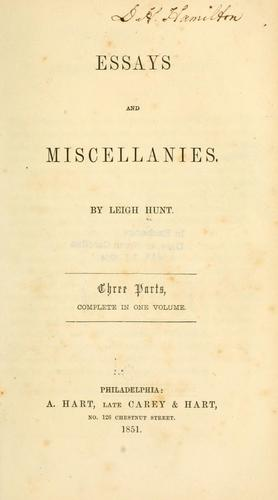 Essays and miscellanies