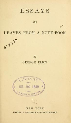 Essays and leaves from a note-book