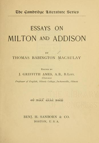 Download Essays on Milton and Addison