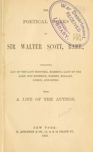 The poetical works of Sir Walter Scott, bart. …