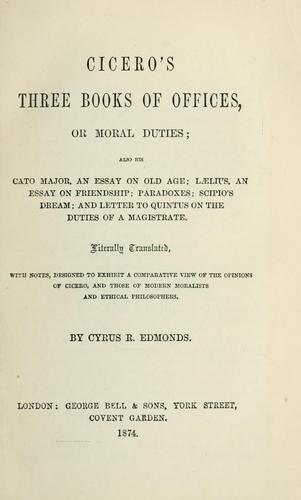 Cicero's three books Of offices by Cicero