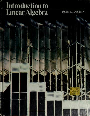 Cover of: Introduction to Linear Algebra | Robert V. Anderson