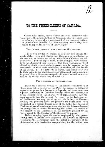To the freeholders of Canada by Freeholder