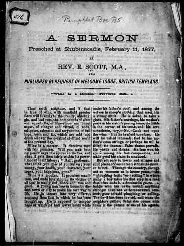 A sermon preached at Shubenacadie, February 11, 1877 by E. Scott