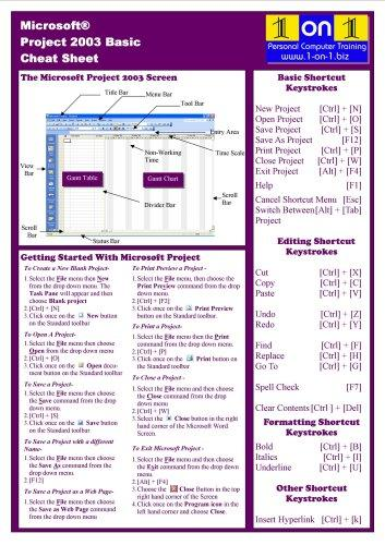 Microsoft Project 2003 Basic Cheat Sheet by Chris Le Roy